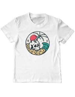 Tricou ADLER copil Skull and beach Alb