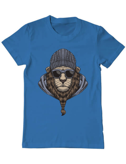 Tricou ADLER barbat Lion head with eyeglasses, urban king Albastru azuriu