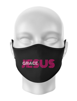Masca personalizata reutilizabila Jesus Grace Negru