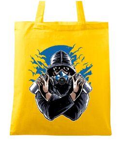 Sacosa din panza Graffiti gas mask Galben