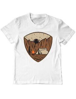 Tricou ADLER copil Camp cliffs Alb