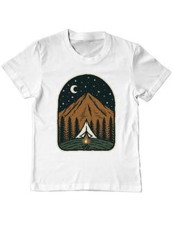 Tricou ADLER copil Camp mountain night Alb