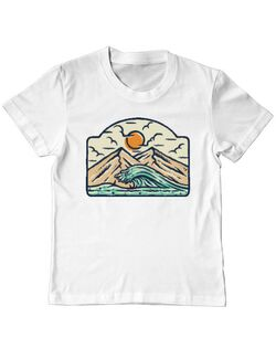 Tricou ADLER copil Mountain and wave Alb