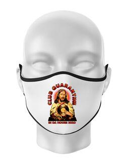 Masca personalizata reutilizabila Club quarantine Alb