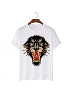 Tricou personalizat alb unisex Daemon Panther