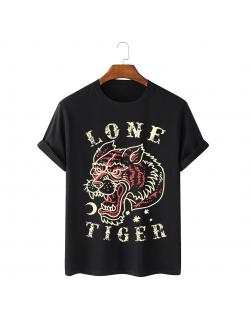 Tricou personalizat negru unisex Lone Tiger