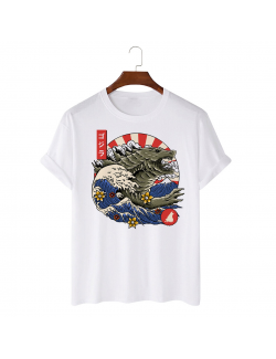 Tricou personalizat alb unisex Great Wave Monster