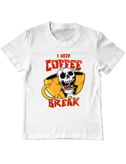 Tricou ADLER copil Coffee break Alb
