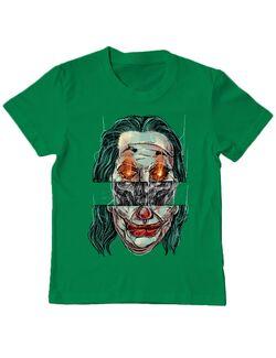 Tricou ADLER copil Joker skull Verde mediu