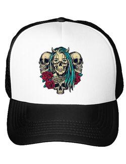 Sapca personalizata Pretty chicano girls with skulls Alb