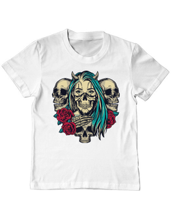 Tricou ADLER copil Pretty chicano girls with skulls Alb