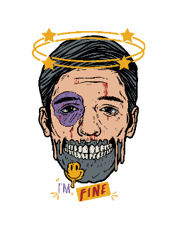 Men face half skull