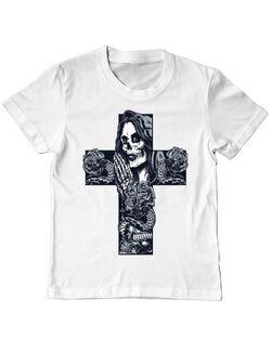 Tricou ADLER copil Chicano cross shaped Alb