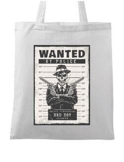 Sacosa din panza Wanted by police Alb