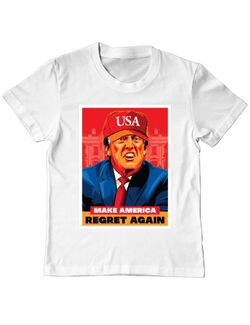 Tricou ADLER copil Make America regret again Alb