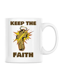 Cana personalizata Keep the Faith Alb