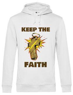 Hoodie barbat cu gluga Keep the Faith Alb