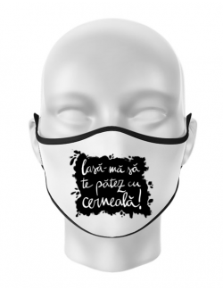Masca personalizata reutilizabila Te patez cu cerneala Alb