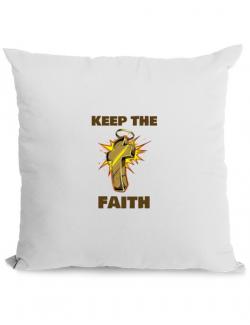 Perna personalizata Keep the Faith Alb