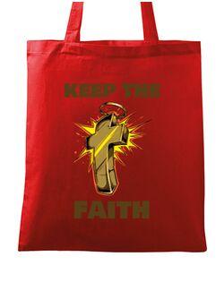 Sacosa din panza Keep the Faith Rosu