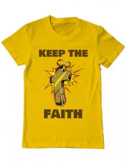Tricou ADLER barbat Keep the Faith Galben