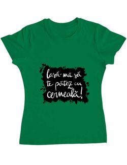Tricou ADLER dama Te patez cu cerneala Verde mediu