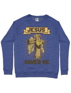 Bluza ADLER barbat Jesus Saved Me Albastru melanj