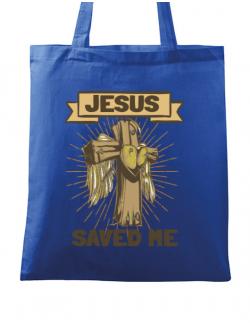 Sacosa din panza Jesus Saved Me Albastru regal