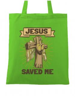 Sacosa din panza Jesus Saved Me Verde mar