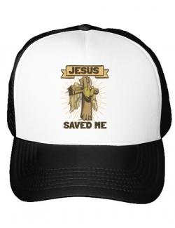 Sapca personalizata Jesus Saved Me Alb