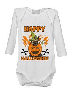 Baby body Halloween Pug Alb