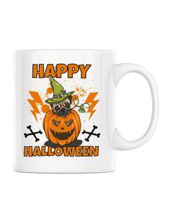 Cana personalizata Halloween Pug Alb