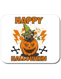 Mousepad personalizat Halloween Pug Alb