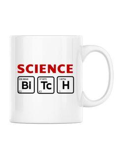 Cana personalizata Science Bitch Alb