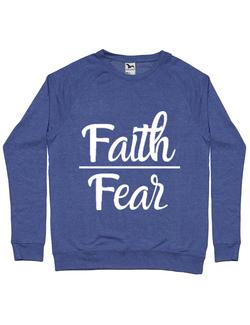 Bluza ADLER barbat Faith Over Fear Albastru melanj