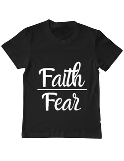 Tricou ADLER copil Faith Over Fear Negru