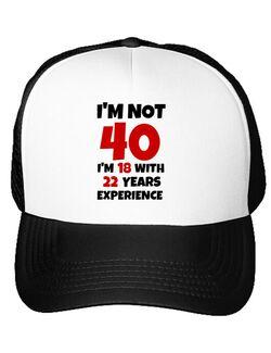 Sapca personalizata 40 Birthday Alb