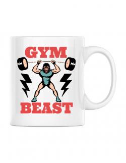 Cana personalizata Gym Beast Alb