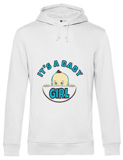 Hoodie barbat cu gluga It's a baby girl Alb