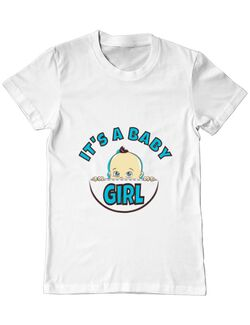 Tricou ADLER barbat It's a baby girl Alb