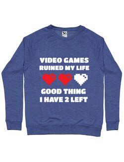Bluza ADLER barbat Video games ruined my life Albastru melanj