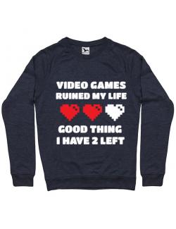 Bluza ADLER barbat Video games ruined my life Denim inchis