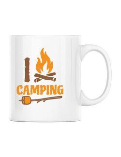 Cana personalizata I love Camping Alb