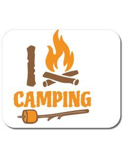 Mousepad personalizat I love Camping Alb