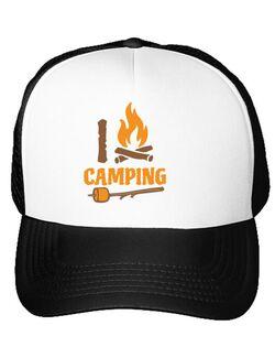 Sapca personalizata I love Camping Alb