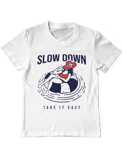 Tricou ADLER copil Slow down Alb