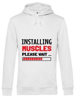 Hoodie barbat cu gluga Installing Muscles Alb