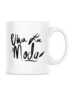 Cana personalizata Viva la moda Alb
