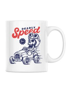 Cana personalizata Deadly Speed Alb