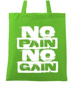 Sacosa din panza No pain, no gain Verde mar